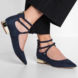 ALDO navy blue and gold suede flat